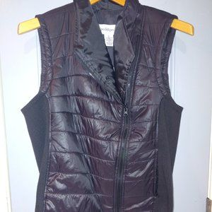 Peck & Peck Small Black Asymmetrical Quilted Vest